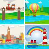 Four scenes of city and river Stock Photo