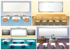 Four scenes of classroom Royalty Free Stock Image