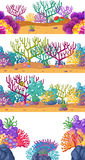 Four scenes with coral reef underwater Royalty Free Stock Photography