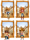 Four scenes of cowboys and cowgirl Stock Images