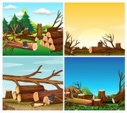 Four scenes of deforestation. Illustration Royalty Free Stock Image
