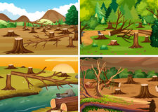 Four scenes of deforestation. Illustration Royalty Free Stock Images