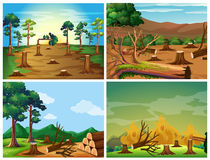 Four scenes of deforestation and wild fire. Illustration Stock Photos