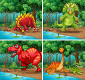 Four scenes of dinosaurs in the park. Illustration Royalty Free Stock Images