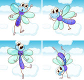 Four scenes of dragonfly flying in sky Stock Image