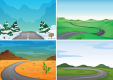 Four scenes with empty roads. Illustration Stock Photo
