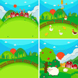 Four scenes of farmland with barn and animals Royalty Free Stock Image
