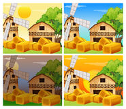 Four scenes of farmyard day and night Royalty Free Stock Photos