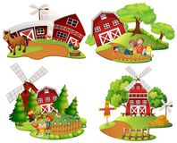 Four scenes of farmyard with people and animals Royalty Free Stock Images