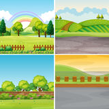 Four scenes with field and mountains. Illustration Royalty Free Stock Photography