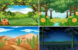 Four scenes of forest and desert. Illustration Royalty Free Stock Photography