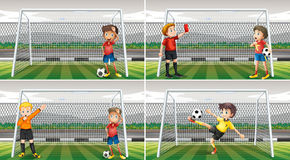 Four scenes of goalkeepers in the field Royalty Free Stock Image