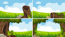 Four scenes with green field and blue sky. Illustration Royalty Free Stock Photo