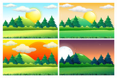 Four scenes of green fields at different times of day Stock Image
