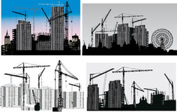 Four scenes with house building royalty free illustration