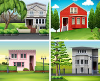 Four scenes of houses and lawn Royalty Free Stock Photo