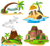 Four scenes of island and beach. Illustration Royalty Free Stock Photos