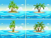 Four scenes with island in the sea. Illustration Stock Photography