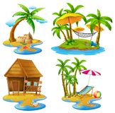 Four scenes of islands and sea. Illustration Royalty Free Stock Photography