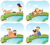 Four scenes with kids and dogs Stock Photo