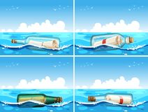 Four scenes of message in bottle. Illustration royalty free illustration