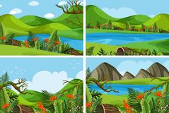 Four scenes with mountains and lake. Illustration Royalty Free Stock Images