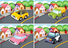 Four scenes of neighborhood with car on the road Stock Image