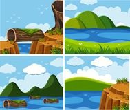 Four scenes of ocean at day time. Illustration Royalty Free Stock Images