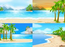 Four scenes of ocean at day time. Illustration Royalty Free Stock Photography