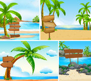 Four scenes of ocean and lake Stock Images