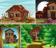 Four scenes with old houses in the field. Illustration Royalty Free Stock Photo