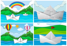 Four scenes with paper boats at sea stock illustration
