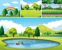 Four scenes of park at day time Stock Images