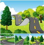 Four scenes of park with roads. Illustration Royalty Free Stock Photography