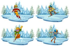 Four scenes with people playing ski and snowboarding. Illustration Stock Photos