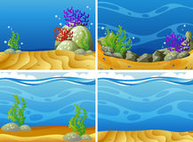 Four scenes plants under the sea. Illustration Stock Photo