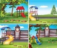 Four scenes with playground. Illustration Stock Photos