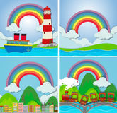 Four scenes with rainbow royalty free illustration