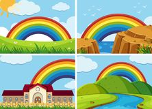 Four scenes with rainbow in the sky. Illustration Royalty Free Stock Photos