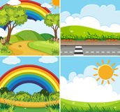 Four scenes with rainbow and sun in sky stock illustration