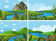 Four scenes of river and field. Illustration Stock Photos