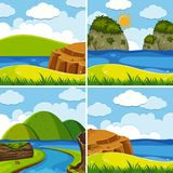 Four scenes of river and lake at day time Royalty Free Stock Photos