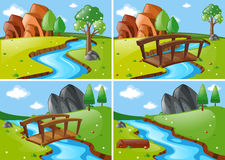 Four scenes with river run through park Stock Photo