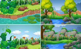 Four scenes with river and trees. Illustration Stock Images