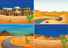 Four scenes with road in the desert land. Illustration Royalty Free Stock Photos