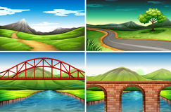 Four scenes of road  to the countryside Royalty Free Stock Photos