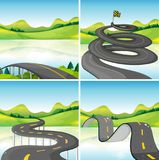 Four scenes of roads in the field. Illustration Royalty Free Stock Image