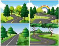 Four scenes of roads in the park. Illustration royalty free illustration