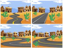 Four scenes with roads in the western town. Illustration Stock Photography