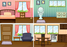 Four scenes of rooms in the house Royalty Free Stock Photos
